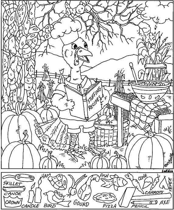 Thanksgiving Hidden Picture coloring page Pinteres
