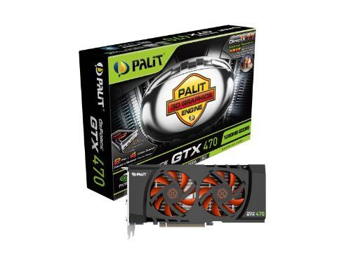 Palit GeForce GTX470 1280 MB 320-bit GDDR5 PCI Express 2.0 x16 HDCP Ready SLI Support Fermi Video Card NE5TX470F10DA by Palit. $399.00. GeForce GTX470 gives your games an adrenaline shot with screaming-fast performance and futuristic, visually-stunning graphics. Experience heart-pounding, cinematic visuals on your favorite games with the combined power of DirectX 11, CUDA and PhysX technologies. And expand your visual real estate across three HD displays in jaw-dropping stereosco...