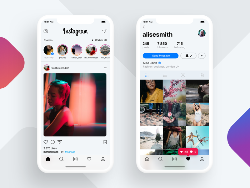 Iphone X Instagram Concept App design, Mobile app design