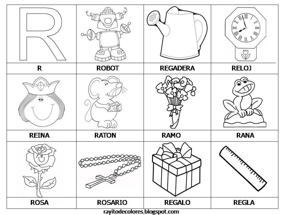 Rayito De Colores Alfabeto En Palabras De La A A La Z Palabras Con B Actividades Con La Letra R Actividades De Letras