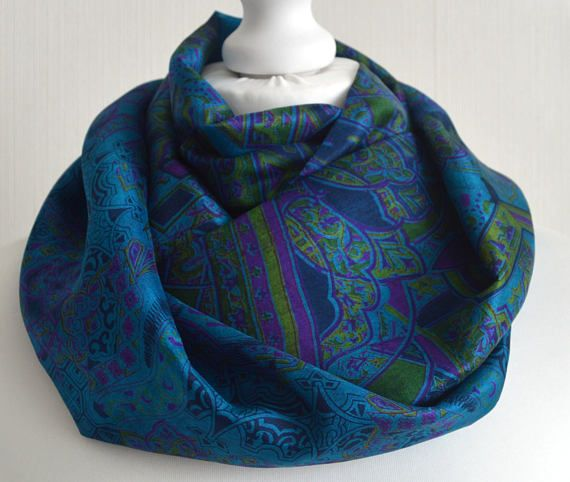 Turquoise Lime Magenta Recycled Sari Silk Scarf Handemade