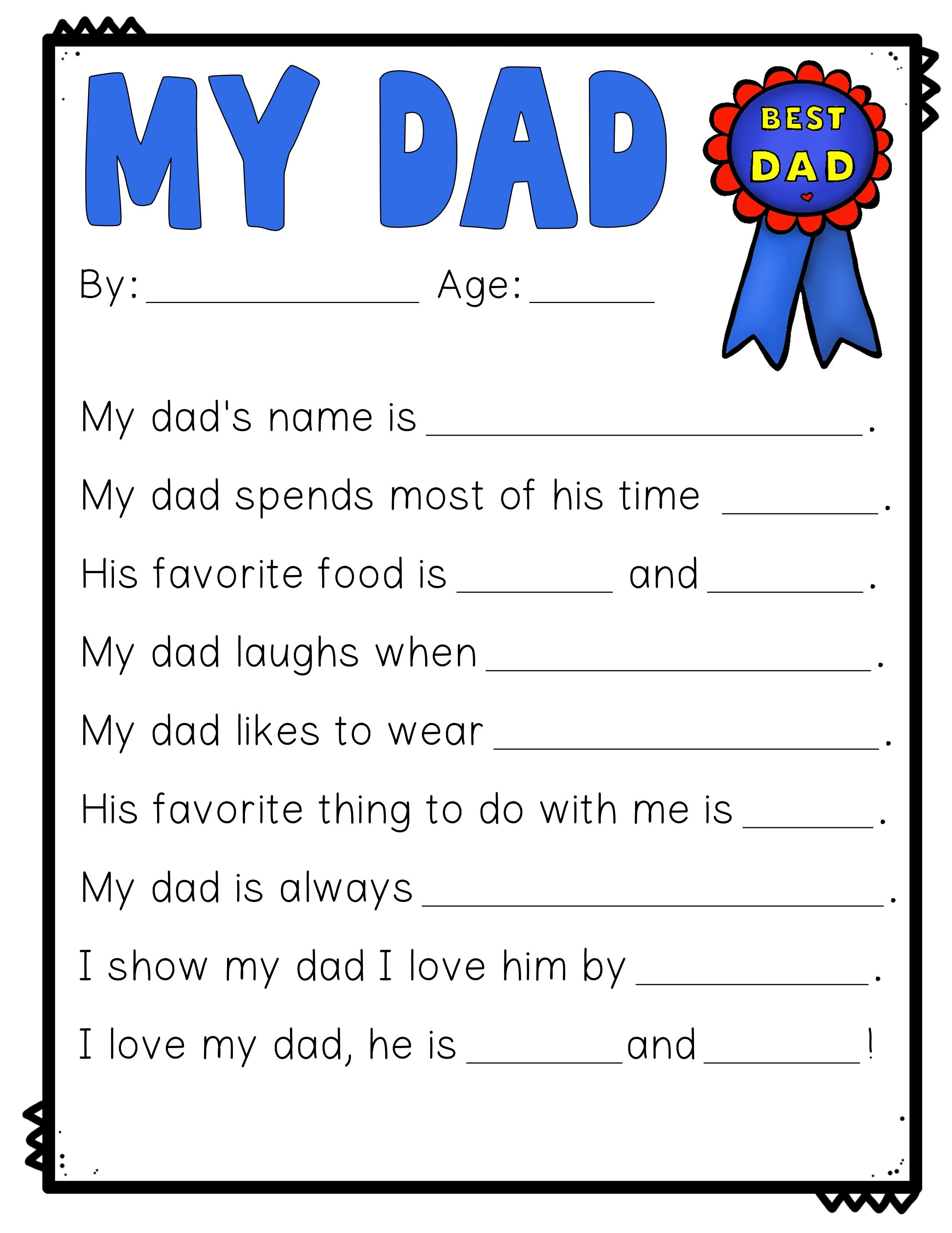Father S Day Writing Activity All About My Dad