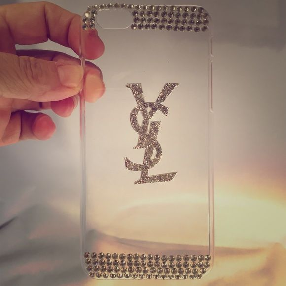 Clear Hardshell iPone 6 case Clear Hardshell iPhone 6 snap on case, YSL logo all blinged out!!! Brand new, rhinestones are not perfectly straight but it's hardly noticeable ❌NO TRADES❌ BUNDLE & SAVE‼️ Accessories Phone Cases