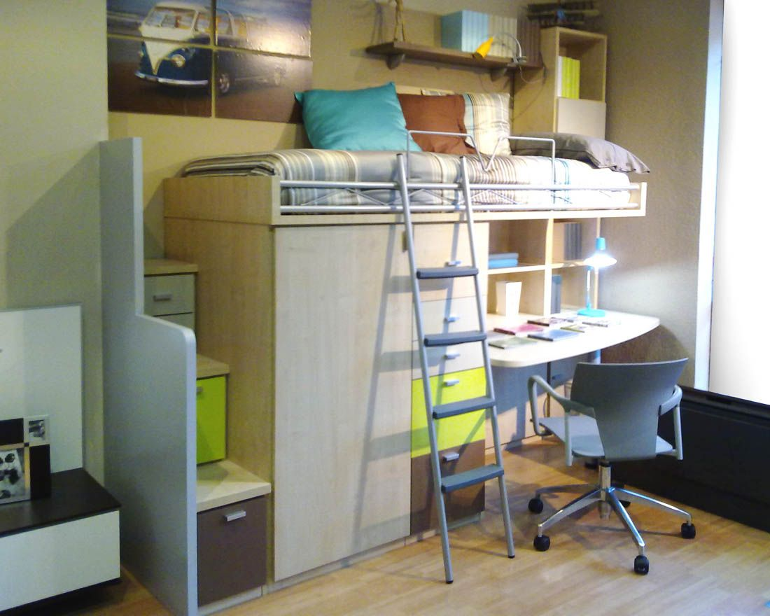 R242 juvenil compacto biblioteca y cama alta con armario cajonera y mesa de estudio debajo - Fabrica muebles barcelona ...