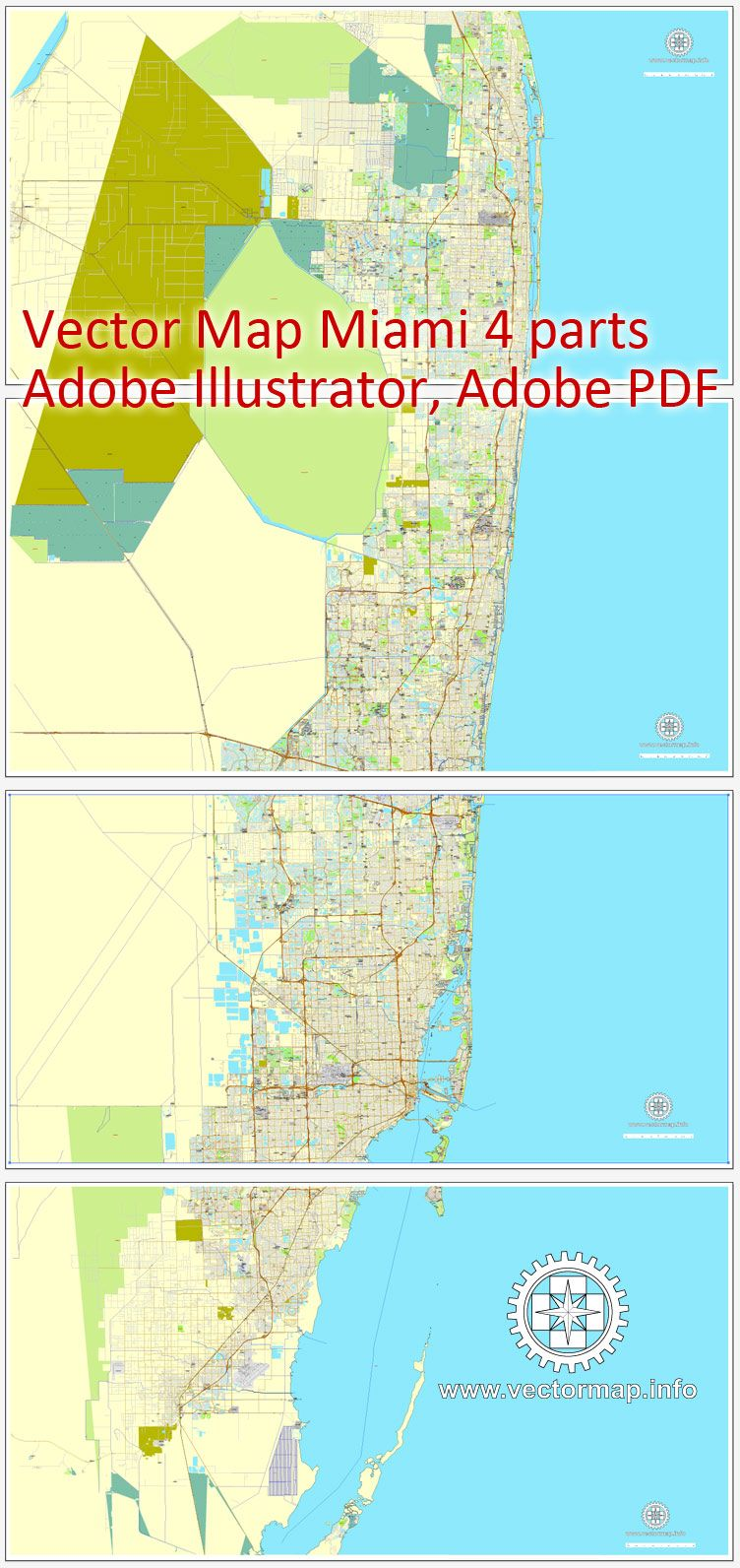 Full Map Of Florida.Miami Florida Us Printable Vector Street City Plan Map 4 Parts