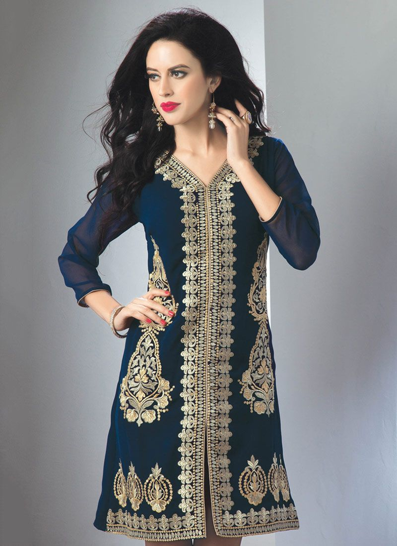Blissful Blue Georgette Embroidered Kurti