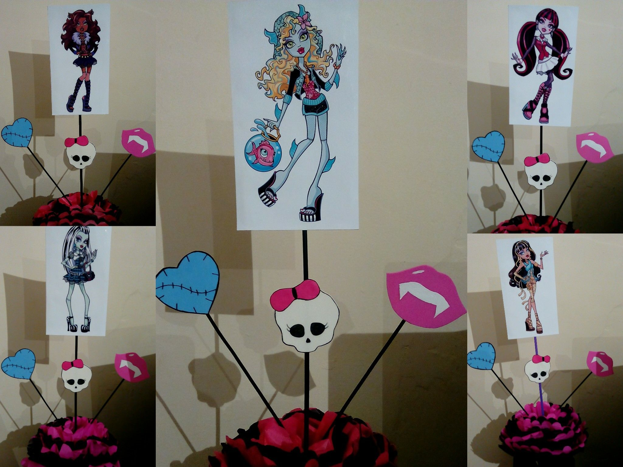 Centros de mesa Monster High | Manualidades para cumpleaños, Manualidades, Centros  de mesa