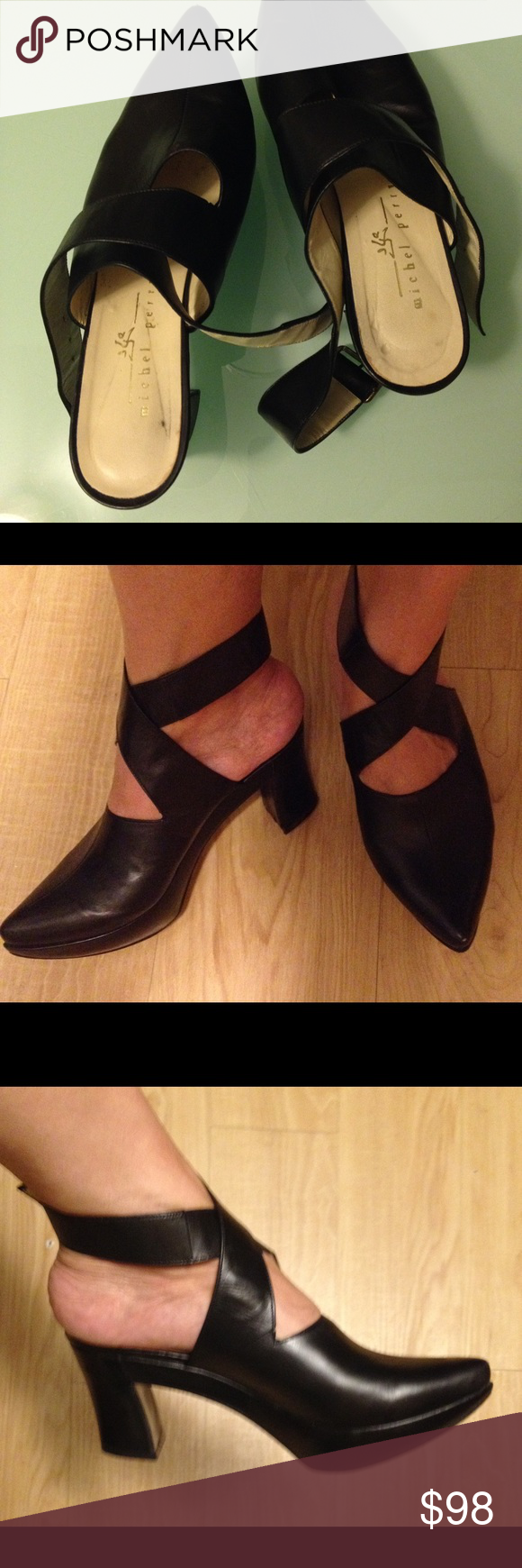 f7939c833d6b Michel Perry black leather platform shoes Vintage Michel Perry very typical  of designs from early 90 s