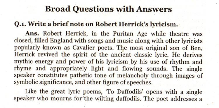 Board Questions With Answers To Daffodils Robert Herrick With