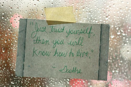 Trust yourself, then you will know how to live - Goethe