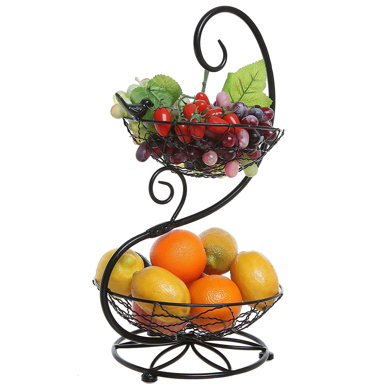 Black Metal Scrollwork And Bird Design 2 Tier Fruit Basket