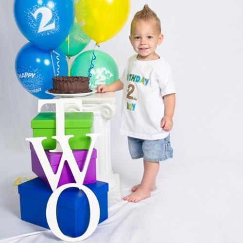 Celebrating The Terrific Twos Why Not Go All Out With Balloons A Cake Personalized Shirt And Professional Portraits
