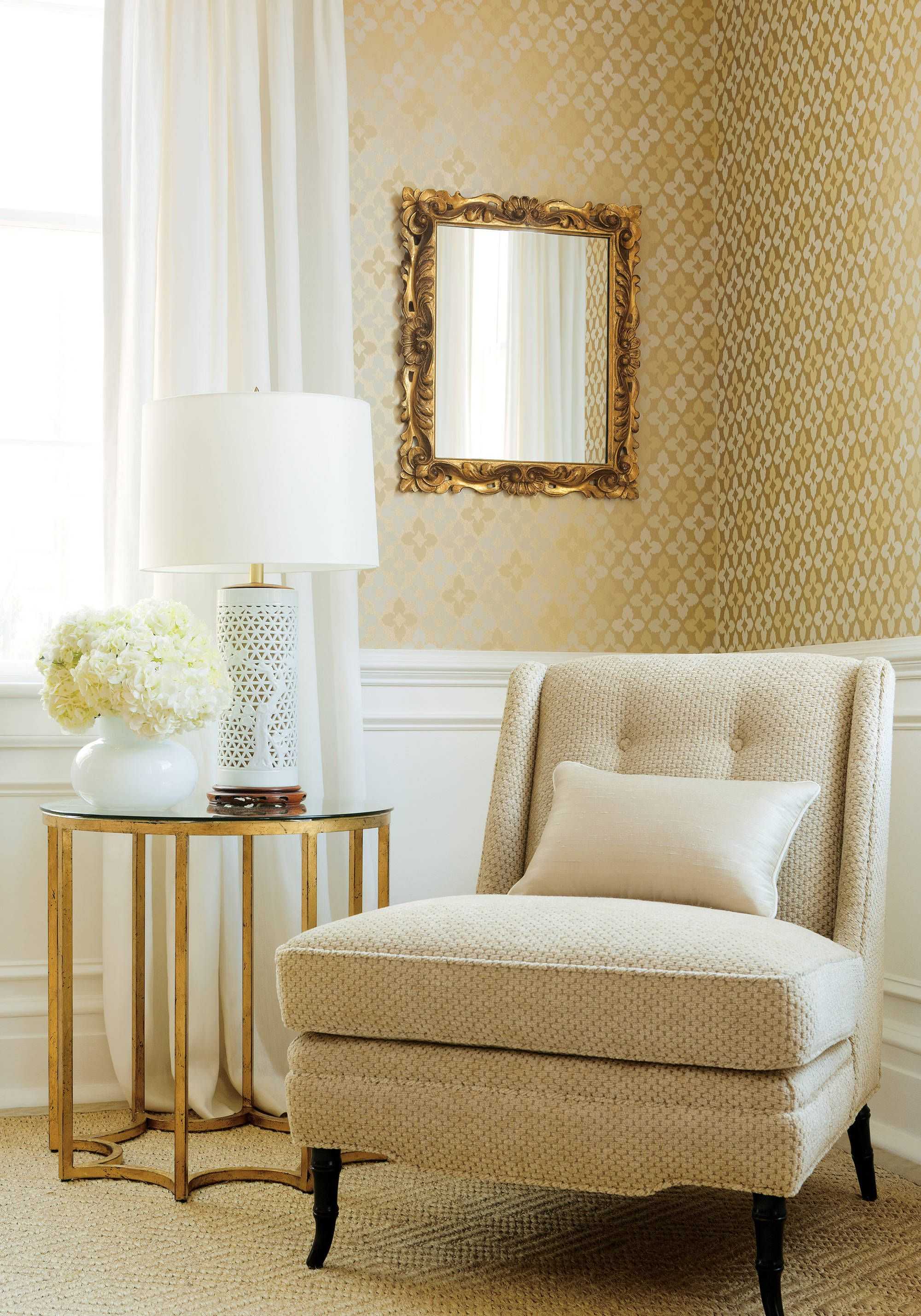 Bedford Chair from Thibaut Fine Furniture in Lugano woven fabric in