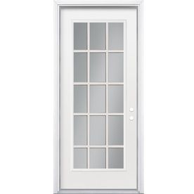 Shop ReliaBilt Flush Insulating Core Left Hand Inswing Steel Primed Prehung Entry  Door (Common: X Actual