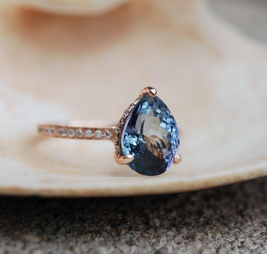 Tanzanite Ring Rose Gold Engagement Ring Lavender Tanzanite Pear Cut Engagement  Ring 14k Yellow Gold