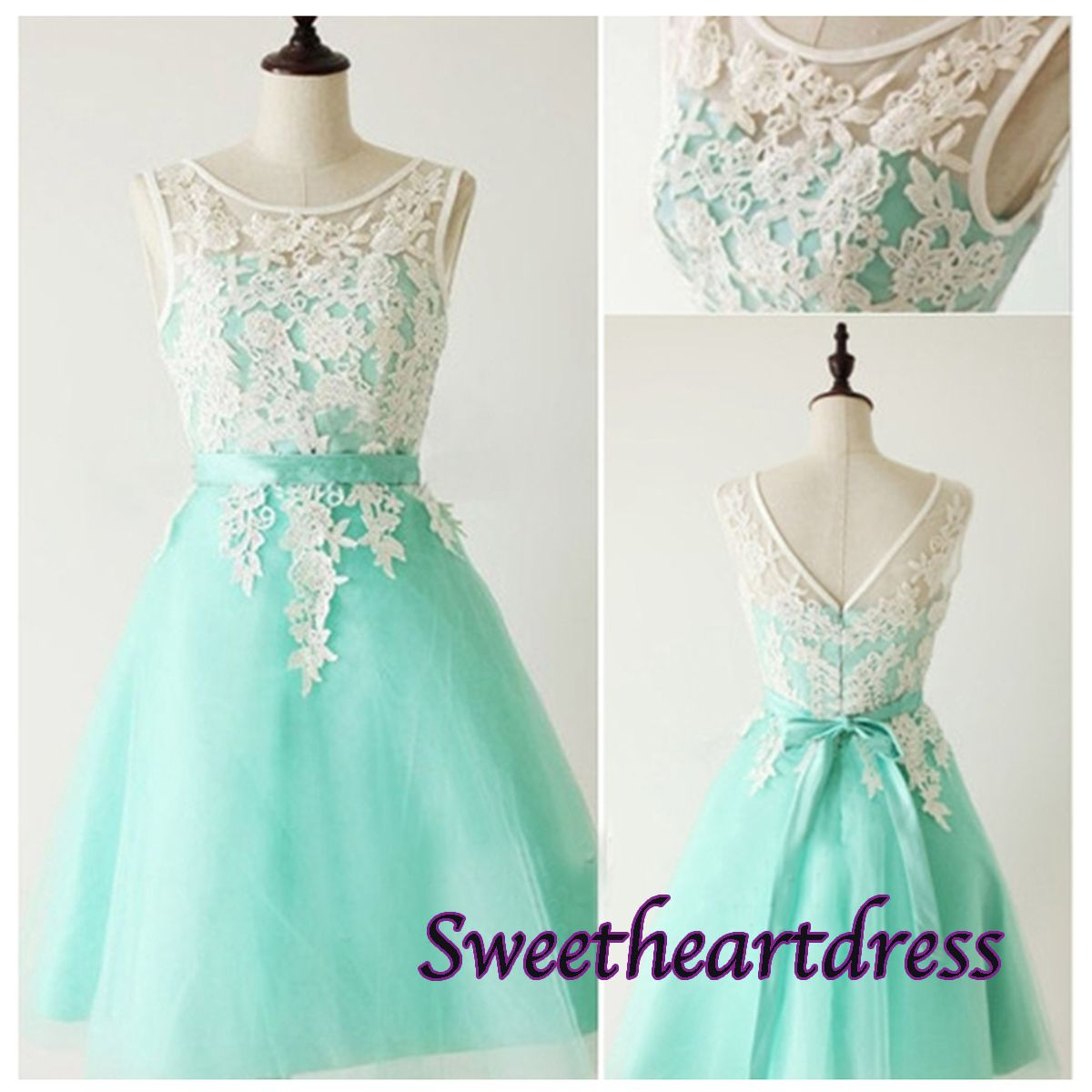 Prom dress 2015, Round neckline lace short green homecoming dresses ...