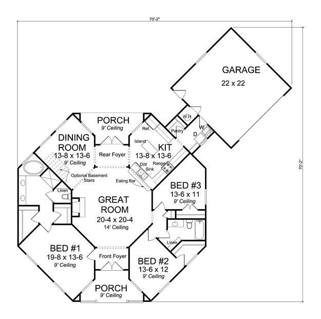 House Plan 4848 00032 Traditional Plan 1 793 Square Feet 3 Bedrooms 2 Bathrooms Octagon House Hexagon House Country Style House Plans