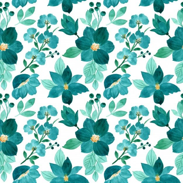 Green Floral Watercolor Seamless Pattern