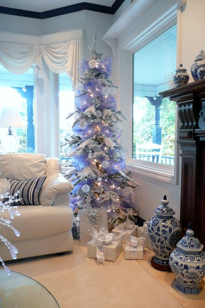 Frenchflair Traditional Living Room Vancouver Michelle Flocked Christmas Trees Beautiful Christmas Blue Christmas Tree