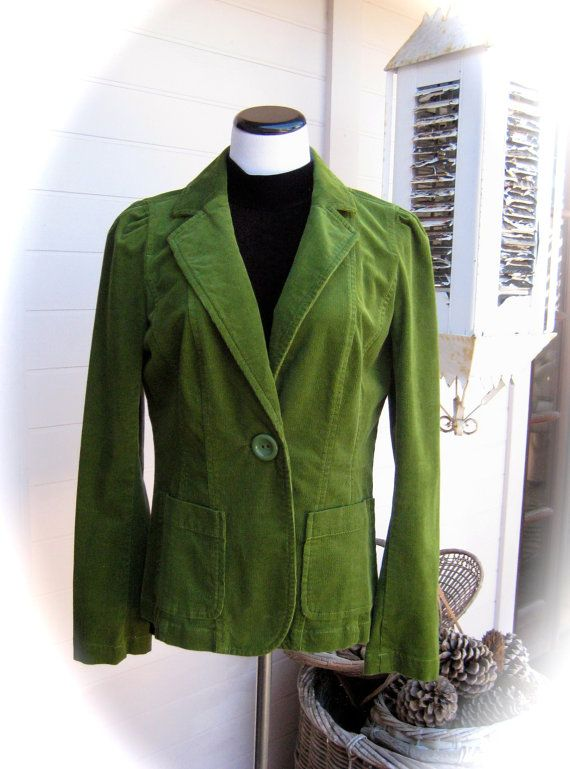 90s ANN TAYLOR Green Cordroy Jacket by YewVintageAngel on Etsy