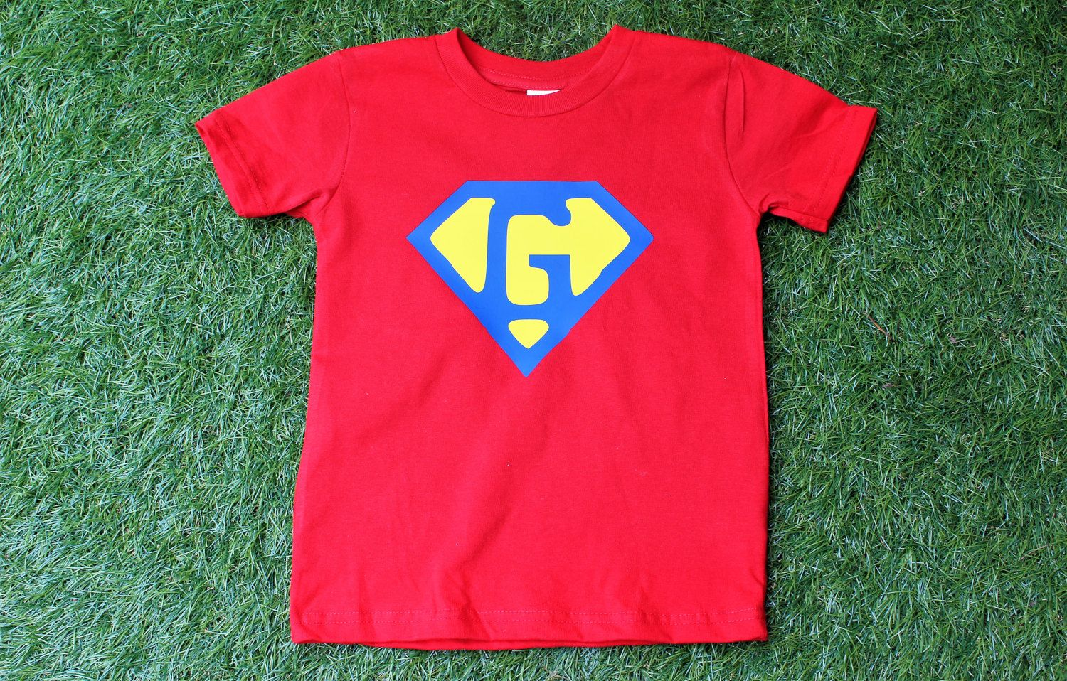 Superhero Birthday Shirt Custom Initial Super Hero Logo Red Toddler With Blue Emblem Customize Or Age By TheCapeLady