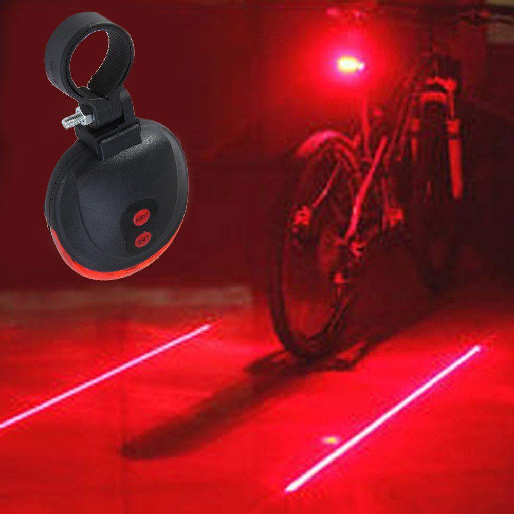 Hot 2 Laser+5 LED Flashing Lamp Tail Light Rear Cycling Bicycle Safety Warning