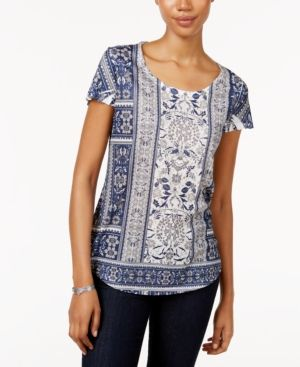 Style & Co Petite Printed T-Shirt, Only at Macy's - Blue P/XS