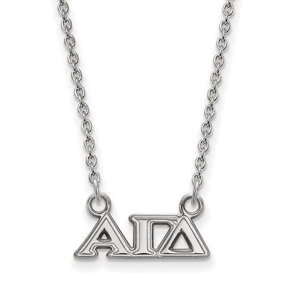 Roy Rose Jewelry Sterling Silver LogoArt Alpha Gamma Delta Small Circle Pendant