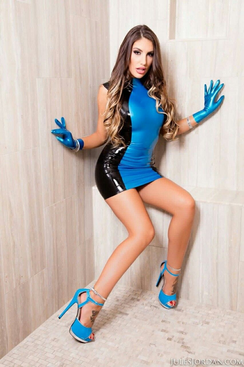 August ames tight blue dress