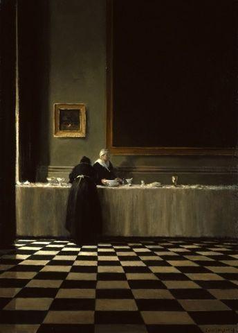 Minuit - Anne Françoise Couloumy Huile sur toile Art détail - peinture porte et fenetre