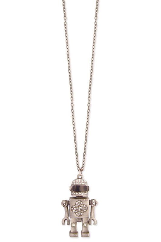 Crystal Robot Necklace In Antique Silver