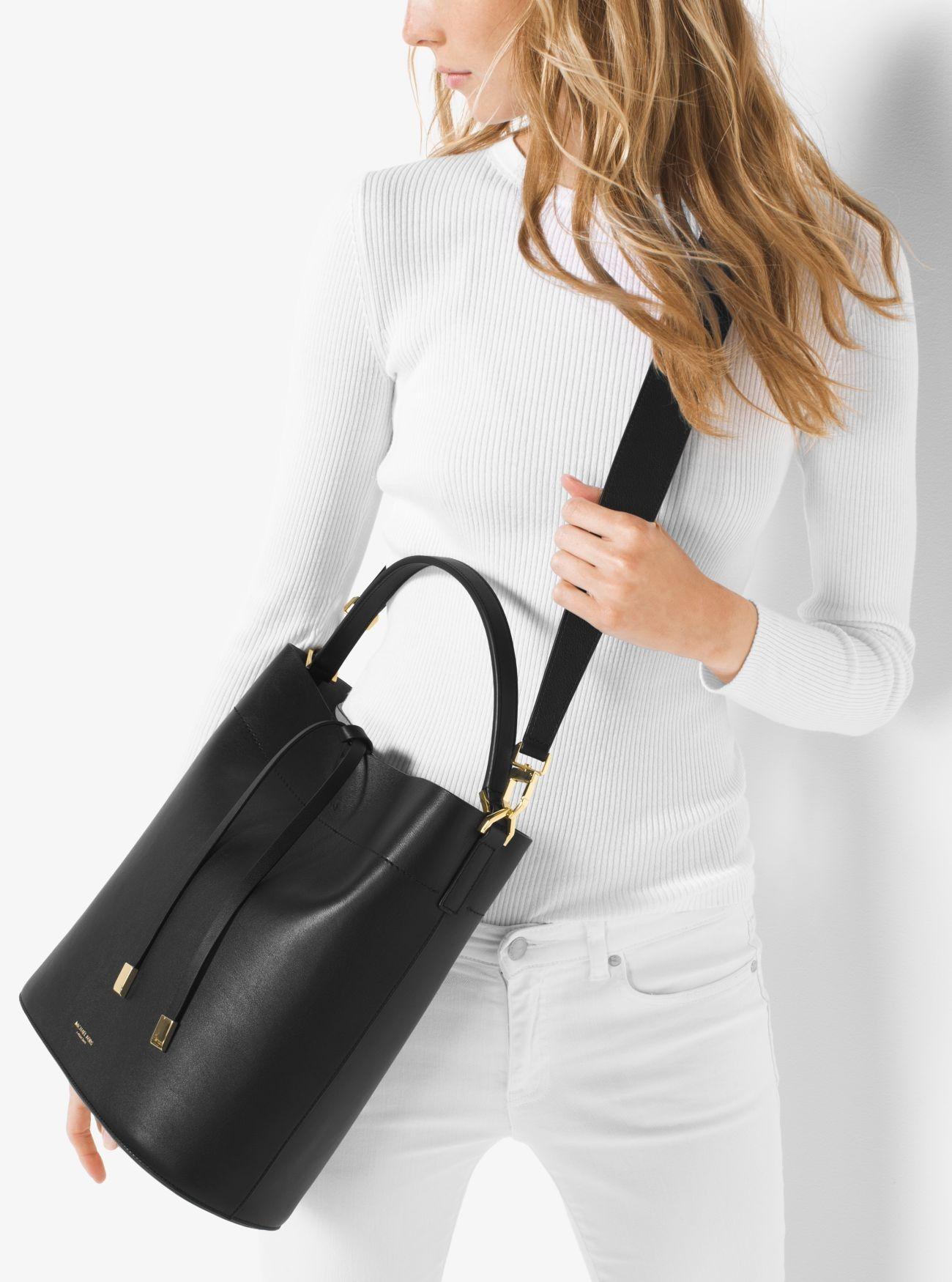 e62aa37ea59a Online Michael Kors Black Miranda Large Leather Shoulder Bag Latest ...