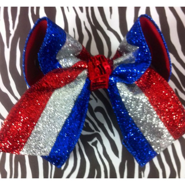 Large double layer glitter fourth of July hairbow.     Shop70454@gmail.com