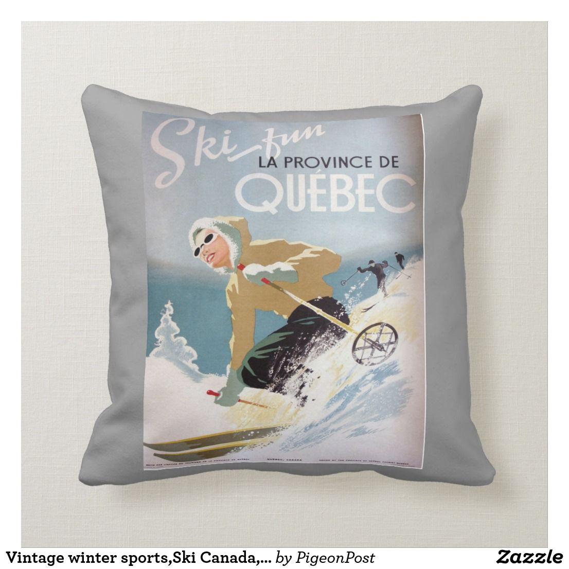 Vintage winter sports,Ski Canada, Quebec Throw Pillow