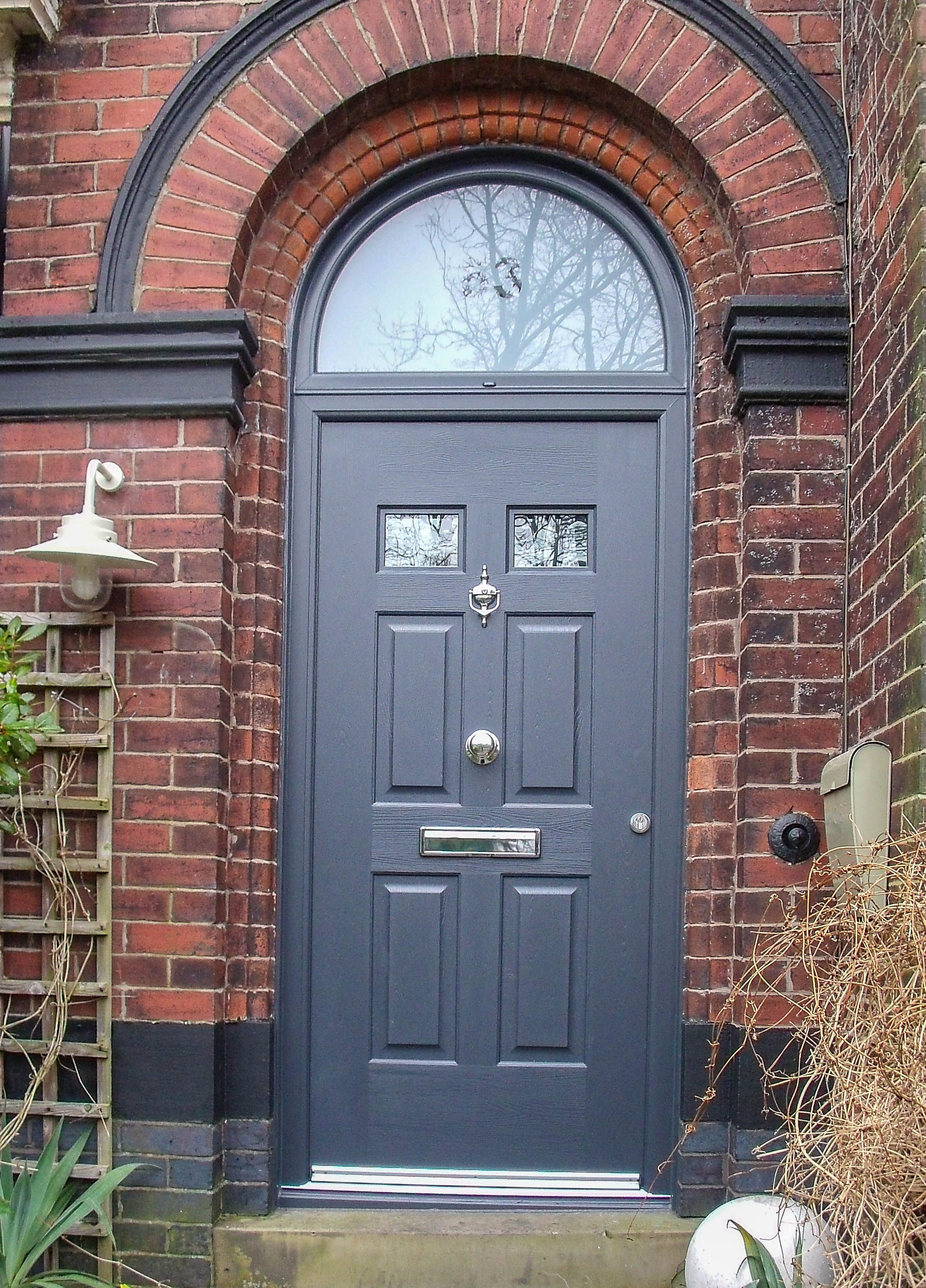A striking slate grey coloured double glazed door with - Front door colors for brick houses ...