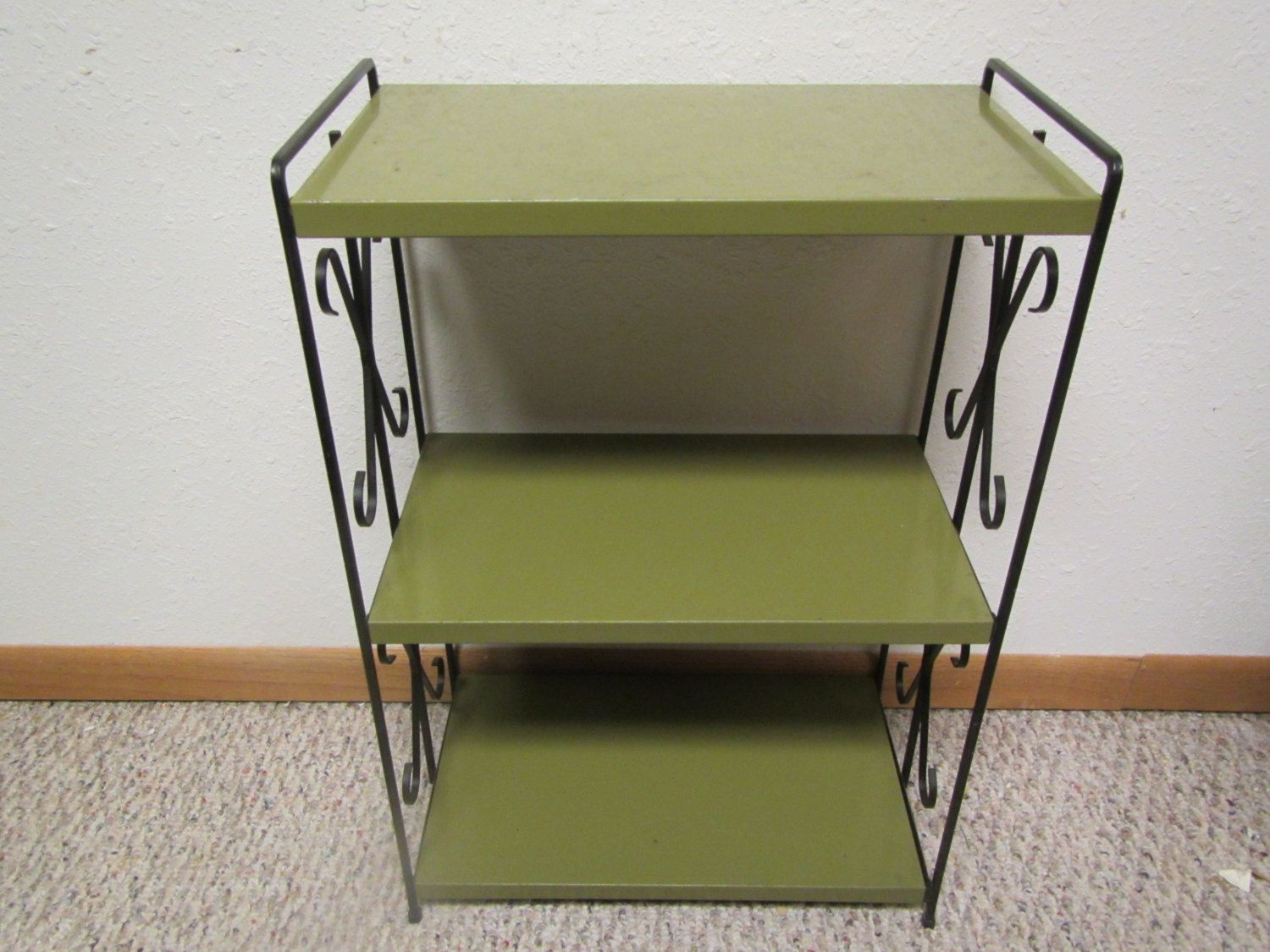 1950s Green Metal Stand With 3 Shelves With Black Decorative End Panels,  Book Shelf , End Table, Light Stand, Midcentury