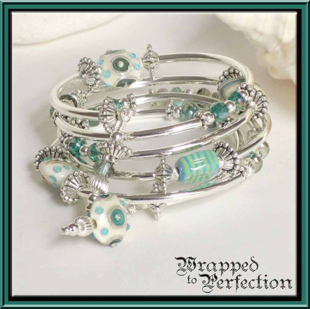 Aqua Amp Sterling Silver Bracelet Lampwork Beads