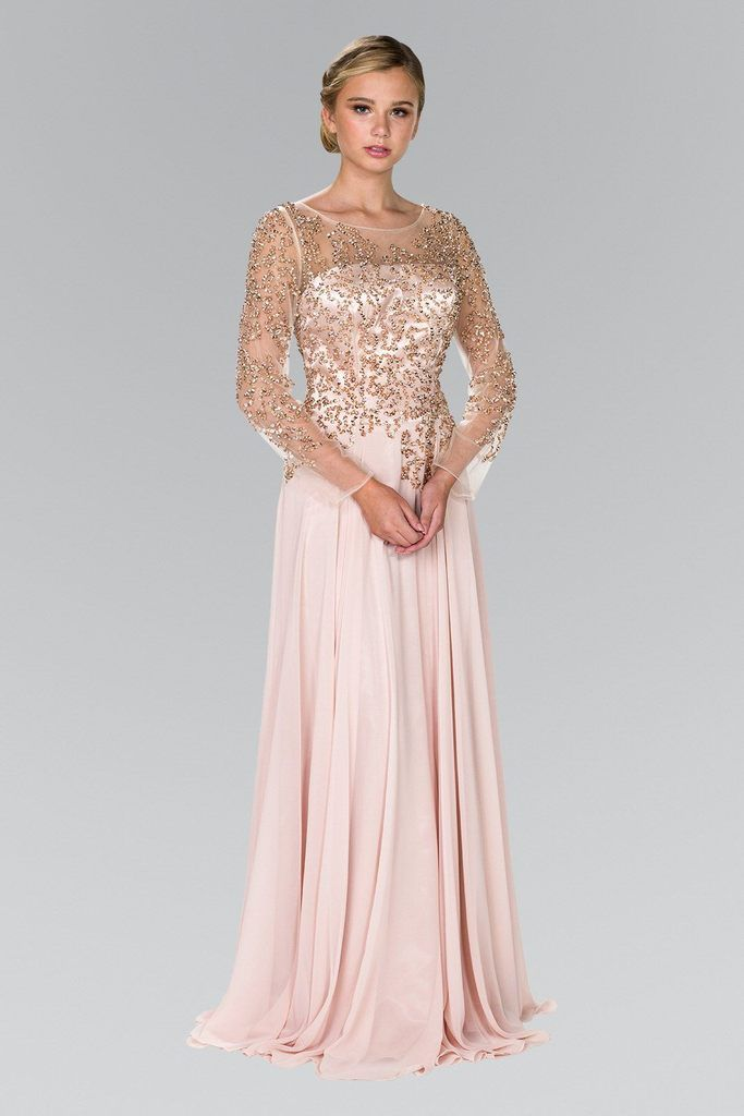 4ce5c252401 Dress elegant yet stylish in this long evening gown with sleeves sleeve  adorn sequin embellished bodice