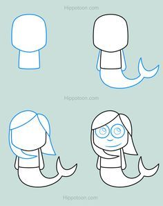 0a848ce25 Simple drawing lesson on how to draw a cartoon mermaid. | Charmed-By ...