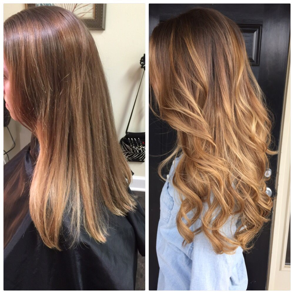 Before And After Balayage Hair Painting And 20 Fusion Extensions