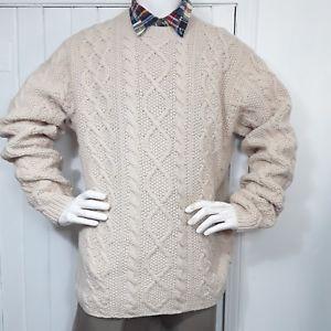 e31a8ca45f J-Crew-Aran-Lambswool-Irish-Fisherman-Cable-Hand-Knit-Sweater -Cream-Men-039-s-XLT