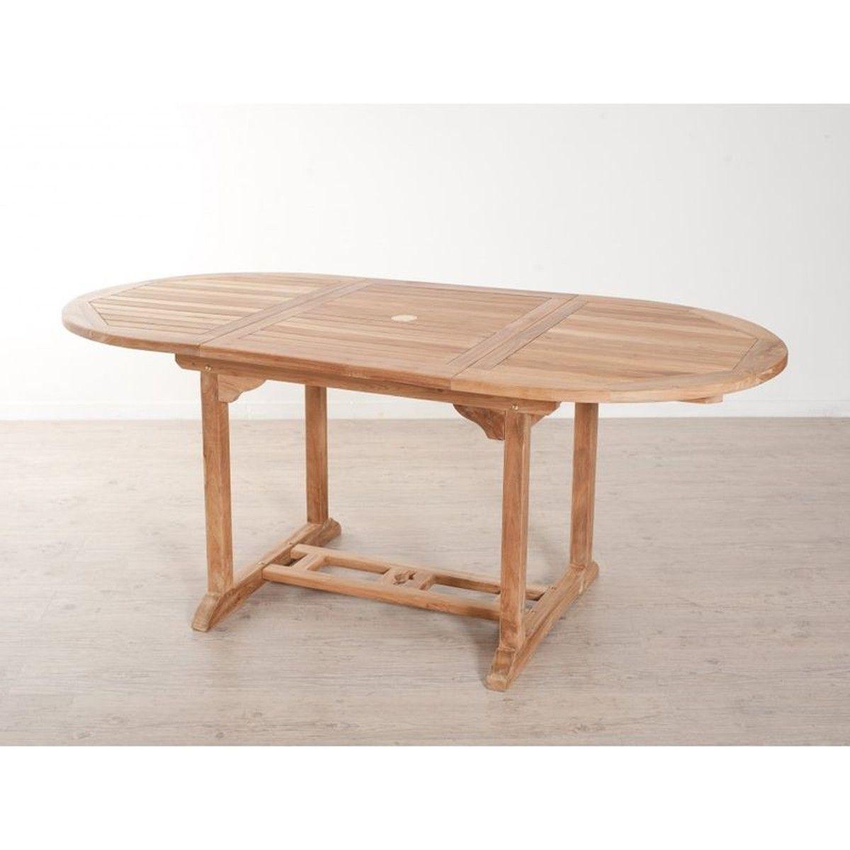 Salon de jardin en teck Table ovale 120/180 cm et 4 chaises ...