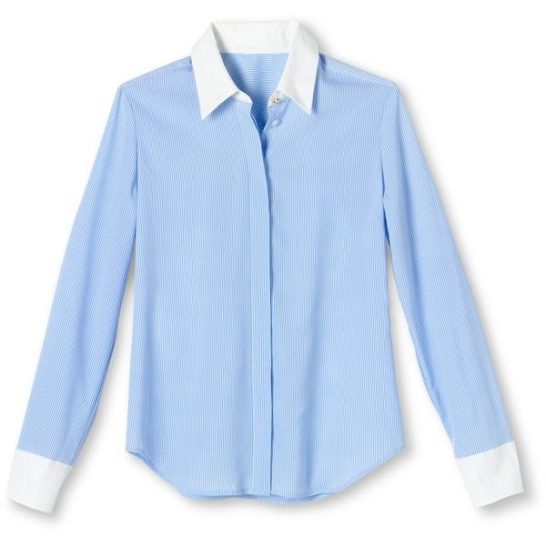 Altuzarra for Target Striped Oxford Shirt- Light Blue/White ($15) ❤ liked on Polyvore featuring tops, button down collar shirts, white button up shirt, light blue button up shirt, white shirt y white collar shirt