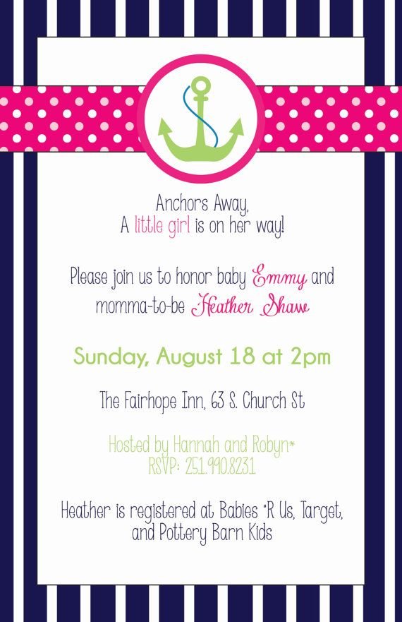 Navy Pink And Green Girl Nautical Baby Shower Invitation