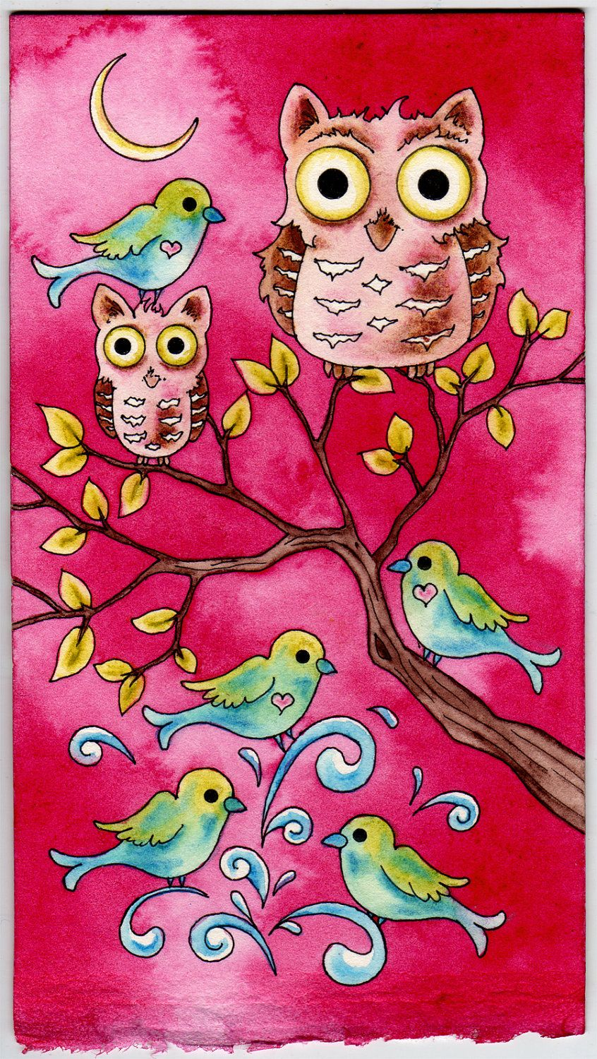 Owls birds welcoming the little one original watercolor painting