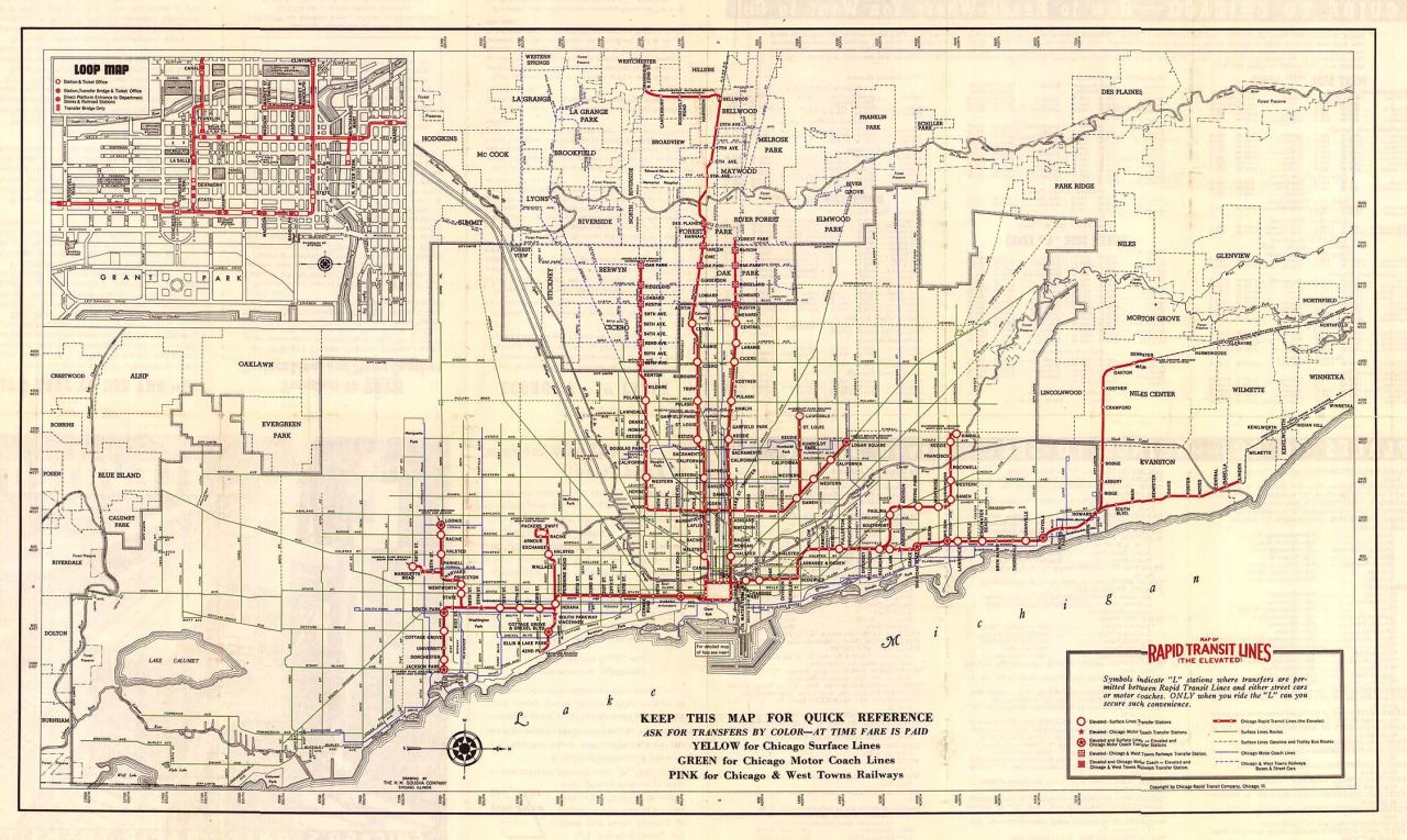 1938 Rapid Transit map of Chicago Map all the things