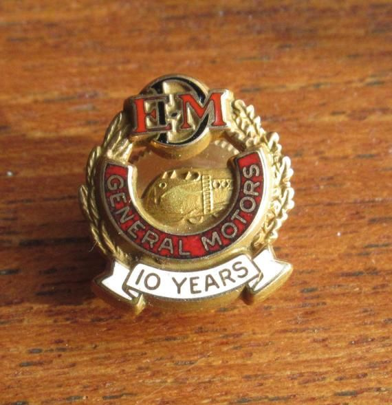 Original General Motors Electro Motive Division 10 Year Gold Filled Lapel Pin Tie Tack Railroad Tie Tack Lapel Pins