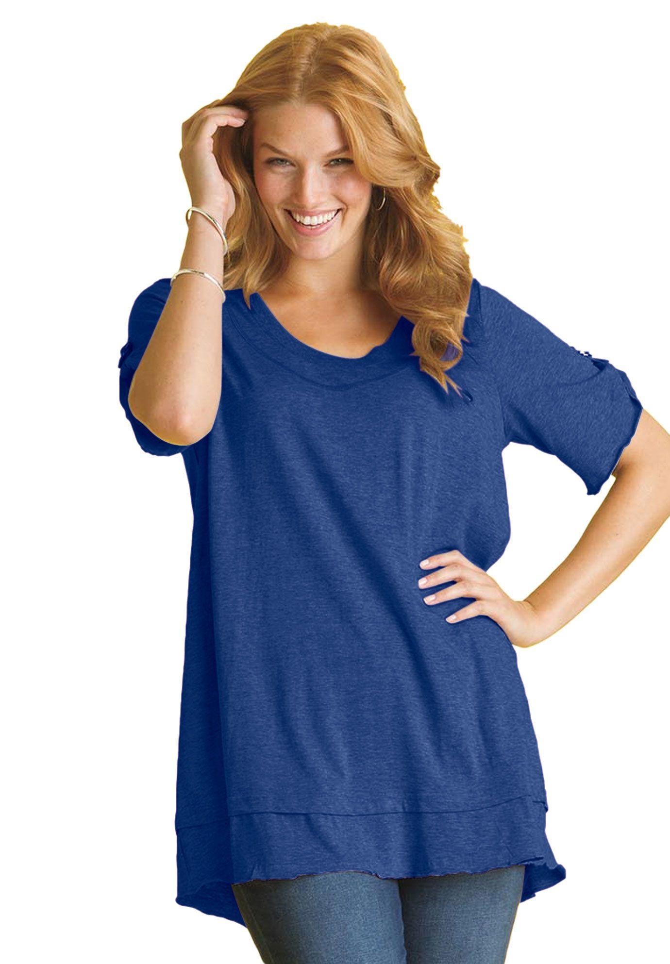 Layered look knit mega tunic top image
