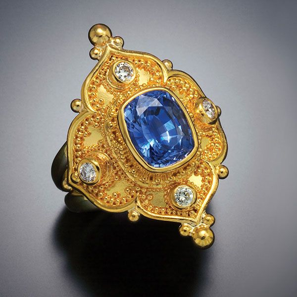 Ring diamond 22kt gold granulation wedding sapphire for Carolyn tyler jewelry collection