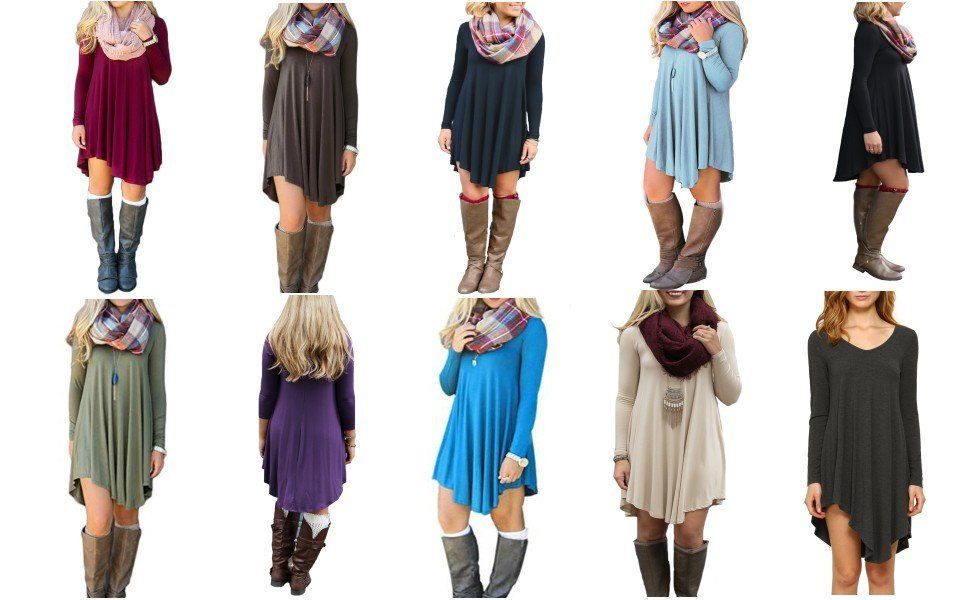 DEARCASE Women's Long Sleeve Casual Loose T-Shirt Dress at Amazon Women's Clothing store:    List Price:$35.99  Price:$9.99 - $16.99